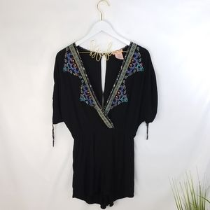 Flying Tomato Black Embroidered Romper Small